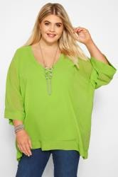 YOURS LONDON Lime Chiffon Cape Top
