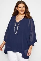 YOURS LONDON Navy Chiffon Cape Top