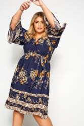YOURS LONDON Navy Floral Autumn Wrap Dress