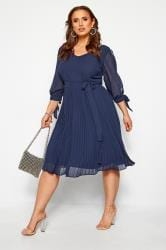 YOURS LONDON Navy Pleated Chiffon Dress