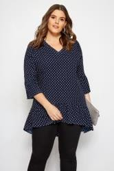 YOURS LONDON Bluse im Polka Dots - Dunkelblau
