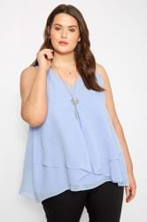 YOURS LONDON Bluse im Lagen-Look, Hellblau