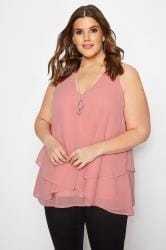 YOURS LONDON Chiffonbluse im Lagen-Look, Pink
