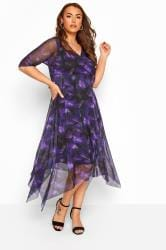 YOURS LONDON Purple Brushstroke Print Wrap Mesh Dress