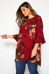 YOURS LONDON Red Floral Print Longline Blouse