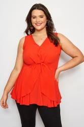 YOURS LONDON Red Knot Front Peplum Vest
