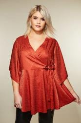 YOURS LONDON Red Jacquard Animal Print Wrap Top