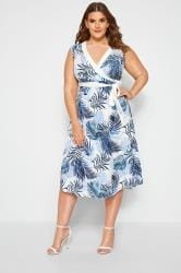 YOURS LONDON White & Blue Tropical Print Wrap Dress