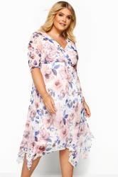 YOURS LONDON White Floral Print Mesh Wrap Dress