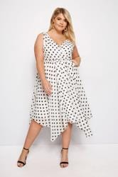 YOURS LONDON White Polka Dot Wrap Dress With Hanky Hem