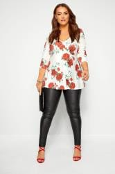 YOURS LONDON White Rose Print Slinky Top