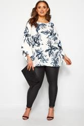 YOURS LONDON White Tropical Cape Top