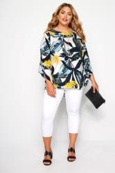 YOURS LONDON White & Yellow Palm Leaf Cape Top