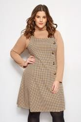 Yellow Check Horn Button Pinafore
