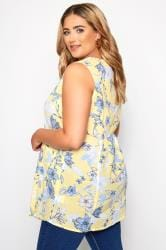 Yellow Floral Sleeveless Pocket Blouse