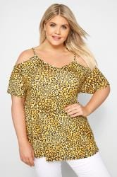Yellow Leopard Print Cold Shoulder Top