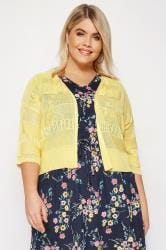Yellow Pointelle Cropped Cardigan