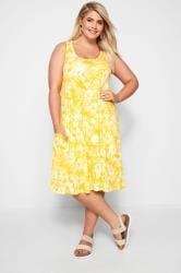 Yellow Sleeveless Floral Drape Pocket Dress