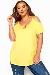 Yellow Strappy Cold Shoulder Top