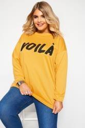 Yellow 'Voilá' Slogan Sweatshirt