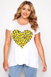SIZE UP White Animal Heart Print T-Shirt