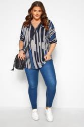 Grey & Cobalt Blue Abstract Stripe Zip Neck Top