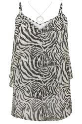 YOURS LONDON Black & White Zebra Print Layered Cami Top