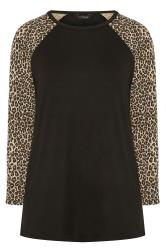 Black Animal Print Long Raglan Sleeve Top