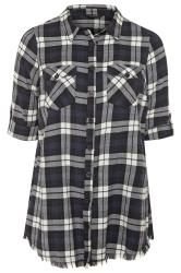 Black & White Check Frayed Hem Shirt