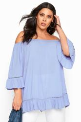 Cornflower Blue Bardot Gypsy Top
