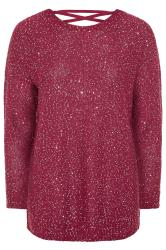 Pink Sequin Lattice Back Knitted Jumper