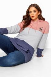 Pink & Denim Blue Colour Block Hoodie