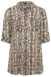 LIMITED COLLECTION Stone Snake Print Eyelet Shirt