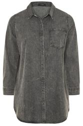 Grey Acid Wash Denim Shirt