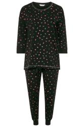 Black Glitter Lips Print Drawstring Pyjama Set