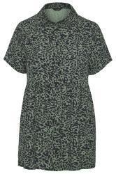 Khaki Animal Print Smock Shirt