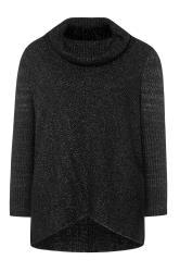 Black Marl Chevron Oversized Roll Neck Knitted Jumper