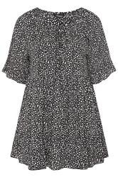 LIMITED COLLECTION Black Spot Print Smock Tiered Blouse