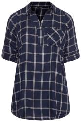 Navy Metallic Check Overhead Shirt