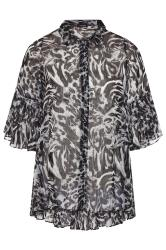 Grey Leopard Print Metallic Pleated Longline Shirt