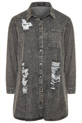 Grey Acid Wash Distressed Denim Shirt