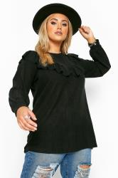 Black Marl Frill Knitted Jumper