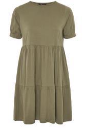 LIMITED COLLECTION Hänge-Stufenkleid aus Baumwolle - Khaki