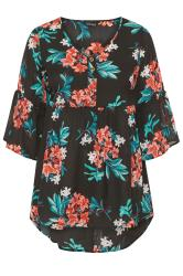 Black Floral Dipped Hem Smock Top