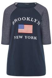 LIMITED COLLECTION Blue Brooklyn Slogan T-Shirt