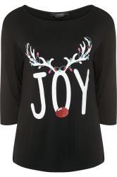 Black 'Joy' Slogan Reindeer Christmas Dipped Hem Top