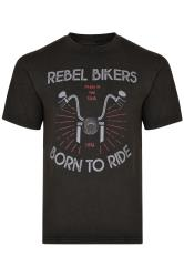 KAM Black Biker Graphic Print T-Shirt