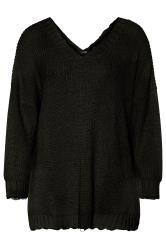 Zerschlissener Pullover mit tiefem V-Ausschnitt - Schwarz