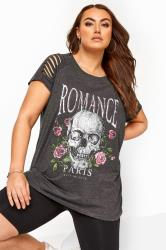 Grey 'Romance' Skull Slogan Top
