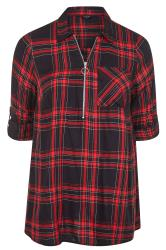 Red Metallic Zip Neck Check Shirt